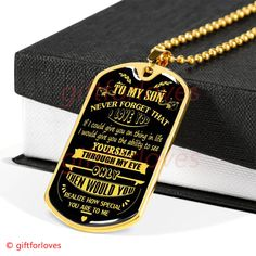 Family dog tag to my son never feel that you are alone love mom Working Mother, Working Moms, Love Mom, First Love, Son Quotes From Mom, Glass Coating, Just Believe, Family Dogs, Custom Engraving