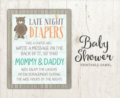 Late Night Diapers Baby Shower Game Sign by StudioTwentyNine