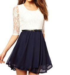 SUNNOW® Neu Mode Europa Stil Damen Frauen Spitze Mini kleid Cocktailkleid Partykleid Abendkleid: Amazon.de: Bekleidung