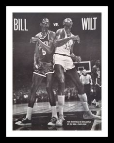 Bill vs. Wilt 1961.  Classic Chamberlain & Russel pic for the vintage early NBA fan Philly or Boston.  BW Clasic Iconic Pic.  Ready Frame. by bluemtcreative2 on Etsy