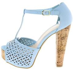 CLARICE08 POWDER BLUE NUBUCK CUT OUT T STRAP CORK PLATFORM FASHION HEELS ONLY $10.88. All women's shoes, heels, wedges, sandals, and flats are $10.88 a pair.