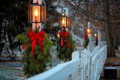 Christmas greens and lanterns