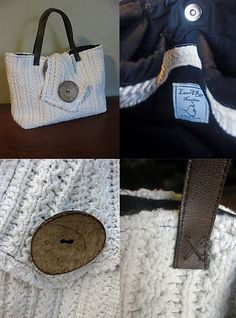 old sweater to bag, like the handle idea