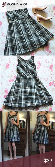 Black, Gray and Off White Plaid Dress 🌸 Plaid dress by Angie, an Urban Outfitters brand  🌸 Zips up in the back  🌸 Has two side loops for a belt/sash  🌸 A-line style  🌸 Has a sewn in slip with black tulle at the end   🌸 100% Polyester   🌸 Size Small. Fits slightly loose on me, but if a tighter fit is desired, it may fit up to a medium. For reference, model is size is small with a 34C chest   🌸 Note: only the dress is included in this listing, the heels are for sale in another Urban…
