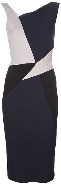 oscar de la renta Fitted Panel Dress - Lyst