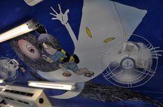 Zug im Design des Manga-Zeichners Shigeru Mizuki bei Matsue in Japan