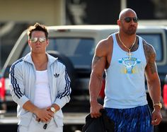 """The Rock wearing the Otomix Ocean Pant. Dwayne """"The Rock"""" Johnson & Mark Wahlberg shooting their new movie """"Pain & Gain"""" recently Dwayne Johnson, Rock Johnson, Health Guru, Health Class, Health Trends, Mark Wahlberg, Fitness Diet, Fitness Motivation, Workout Fitness"""