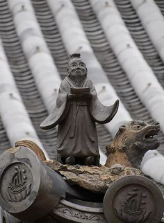 The Wise Sage of the Roof. I wish I had this Kawara. Beautiful. I love Japanese architecture used as art in decorating.
