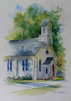 White church with soft edges. Love the sky and front lawn especially. White church with soft edges. Art Aquarelle, Watercolor Painting Techniques, Watercolor Landscape, Watercolour Painting, Painting & Drawing, Landscape Paintings, Watercolor Sketch, Watercolors, Landscapes