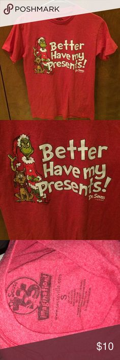 "Dr Seuss grinch red shirt better have my presents! Size small. 50/50 soft comfy. 18"" chest. 26.5"" length. Can be unisex. Shirts Tees - Short Sleeve"