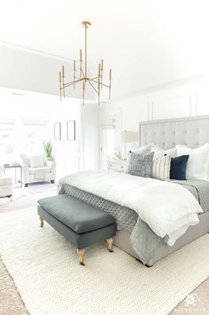 Home decorating ideas bedroom white master bedroom design ideas with brass light and gray tufted bed – awesome home design ideas and decor Bedroom Green, Bedroom Colors, Bedroom Fan, Bedroom Curtains, White And Grey Bedroom Furniture, Dove Grey Bedroom, Cheetah Bedroom, Grey And Gold Bedroom, Blush Pink Bedroom