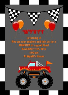 Monster Truck Party Invitation 5x7 Printable Digital File by KWPCreations, $5.00