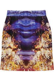 McQ Alexander McQueenPrinted cotton-blend faille skirt