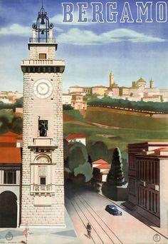 Vintage Bergamo, Italy travel poster, 1938.