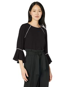25b334a2bedf0b Amazon.com: Calvin Klein Women's Crew Neck with Flare and Piping, Black, M:  Clothing - Click on the photo for more information! (This is an affiliate  link).