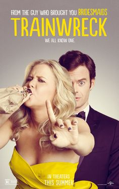 Really excited to see #Trainwreck. This is their first poster. Click it to see the official red band trailer.  #BillHader #AmySchumer
