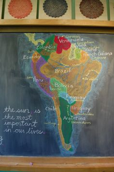 Waldorf ~ grade ?? ~ The Geography of South America ~ Map ~ chalkboard drawing
