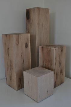 Solid Oak Blocks Coffee, Side Table stand | eBay