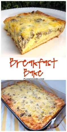 Breakfast Bake - crescent rolls topped with sausage, eggs, milk, cheddar and mozzarella cheese. SO good! Ready in 30 minutes. Great for a potluck.