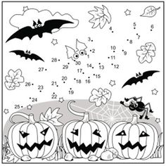 Halloween Bat Connect the Dots and Coloring Page, Commercial Use Allowed coloriage halloween à imprimer Theme Halloween, Halloween Bats, Halloween House, Halloween Pumpkins, Halloween Puzzles, Happy Halloween, Halloween Coloring Pages Printable, Halloween Worksheets, Halloween Crafts For Toddlers