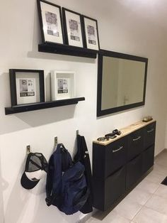 Materials: Furnishings trones shoe storage modified in entrance buffet for slender hall Ikea E picture body Ikea Trones, Corridor Design, Hall Furniture, Small Entryways, Hallway Storage, Buffet, Entry Hallway, Foyer Decorating, Small Living Rooms