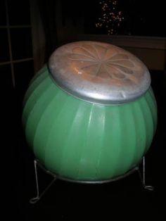 Hoosier-Cabinet-GREEN-Colonial-Style-Sugar-Cookie-Jar-with-Rack-Original-Lid