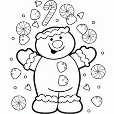 Coloring Page Gingerbread - Receitas de Natal grátis, páginas para colorir para crianças e Letras Santa - Livre-N-Fun Natal