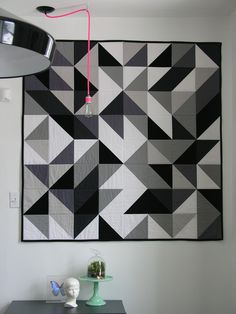 I like monochromatic quilts, but not usually with large scale blocks.  I think this is just the right scale -- and just enough variety to keep it moving.