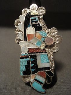 IMPORTANT ZUNI ELDRED MARTINEZ KACHINA DANCER TURQUOISE CORAL SILVER RING
