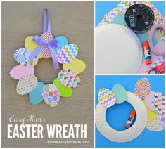 Easy diy wreath form from a paper plate, could cut a piece of card board from a box like this to use as a form. Crafts For Seniors, Crafts For Boys, Easter Activities, Craft Activities For Kids, Christmas Ornament Crafts, Kids Christmas, Paper Plate Crafts, Easter Crafts For Kids, Easter Wreaths