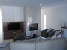 Modern fireplace and TV stand.
