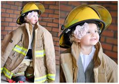 Children in firefighter gear portraits by Christie Knight Photography