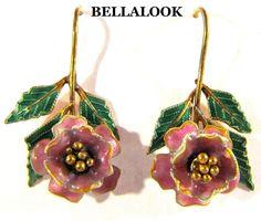 VINTAGE GOLD WASH OVER STERLING SILVER & COLORFUL ENAMEL 3D FLOWER EARRINGS 4.4g