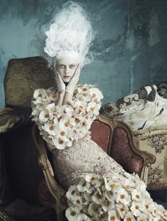 Meghan, Sophie, Steffi, Xiao, Holly Rose, Codie by Luigi + Daniele & Iango for Vogue Germany April 2014 #fashion #editorial #romantic #baroque #rococo #flowers #pastel