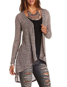Marled Cascade Duster Cardigan: Charlotte Russe