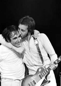 "soundsof71: ""The Who: Pete Townshend kissing Keith Moon, Madison Square Garden 1974, by Bill Green """
