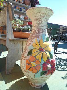 Large flowered pot ~ 3D Mosaics ~  by Solange Piffer