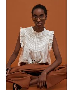 ZARA - WOMAN - EMBROIDERED BLOUSE WITH PERFORATIONS