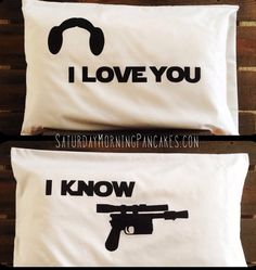 Star Wars Han & Leia love pillowcases.