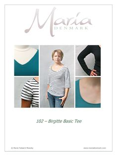Maria Denmark 102 Birgitte Basic Tee CUT SIZE S  MADE V-neck 3/4 sleeve, dark grey. Will make more!