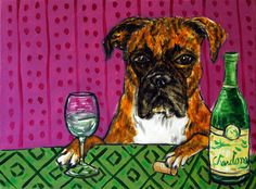 BOXER dog wine 8x10 signed artist prints animals impressionism gift  new #Impressionism