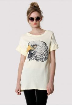 Eagle Print T-shirt in White  #Chicwish
