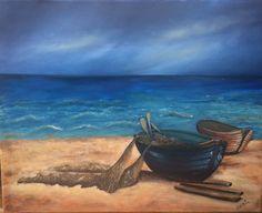 created by:  Szöllős Éva -Fishing boats -  oil, 40x50 cm canvas (Original painting: V.Szakácsi Éva  art)