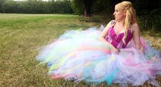 Price Reduced!!! Sherbet Pastel Rainbow Galaxy and White Full length adult tutu - great for prom!