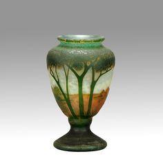 Daum - Vase Paysage - Pâte de Verre