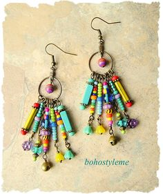 Boho Colorful Earrings Fun Playful Dangle Earrings Boho