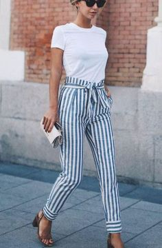 NEW Women Skinny Patchwork Striped Pants Women Pockets OL Style Work Trousers 2019 Spring Mid Waist Pants : NEW Women Skinny Patchwork Striped Pants Women Pockets OL Style Work T – geekbuyig Casual Friday Outfit, Business Casual Outfits, Casual Fridays, Summer Work Outfits, Spring Outfits, Autumn Outfits, Outfit Summer, Summer Dresses, Black Women Fashion