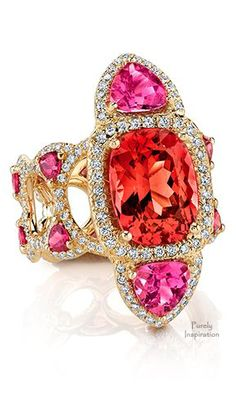 Erica Courtney Tiger Lily Ring ~ Pink Spinel, Pink Tourmalines, Diamonds,  Rubellites | Purely Inspiration