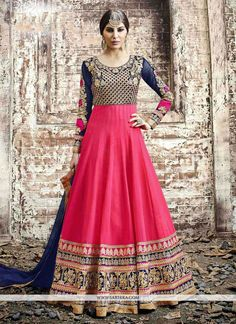 This hot pink georgette anarkali salwar kameez is adding the interesting glamorous displaying the feel of cute and graceful. The lovely embroidered and patch border work a substantial element of this ...