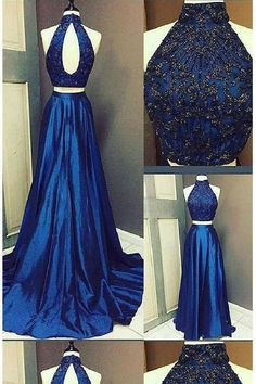 Cheap Absorbing Prom Dresses Two Piece Prom Dress High Neck Brush Train Royal Blue Long Prom Dress/Evening Dress Royal Blue Prom Dresses, Elegant Prom Dresses, A Line Prom Dresses, Formal Dresses For Women, Cheap Prom Dresses, Dress Formal, Halter Top Prom Dresses, Formal Prom, Long Dresses